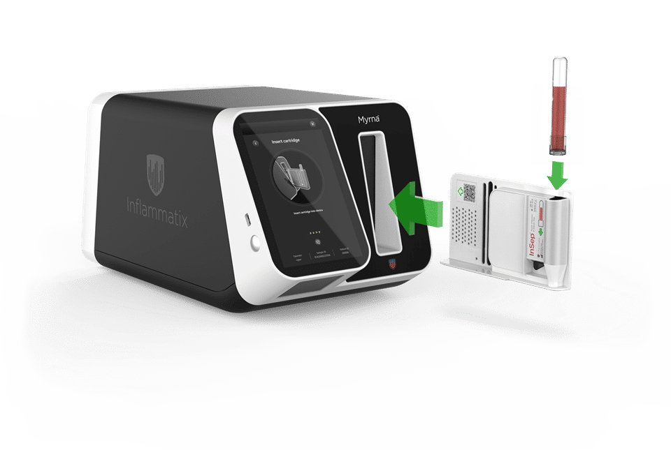 The Myrna instrument is sleek black and white, and about the size of a toaster. Its slot accepts cartridges for reading blood tests from Inflammatix.