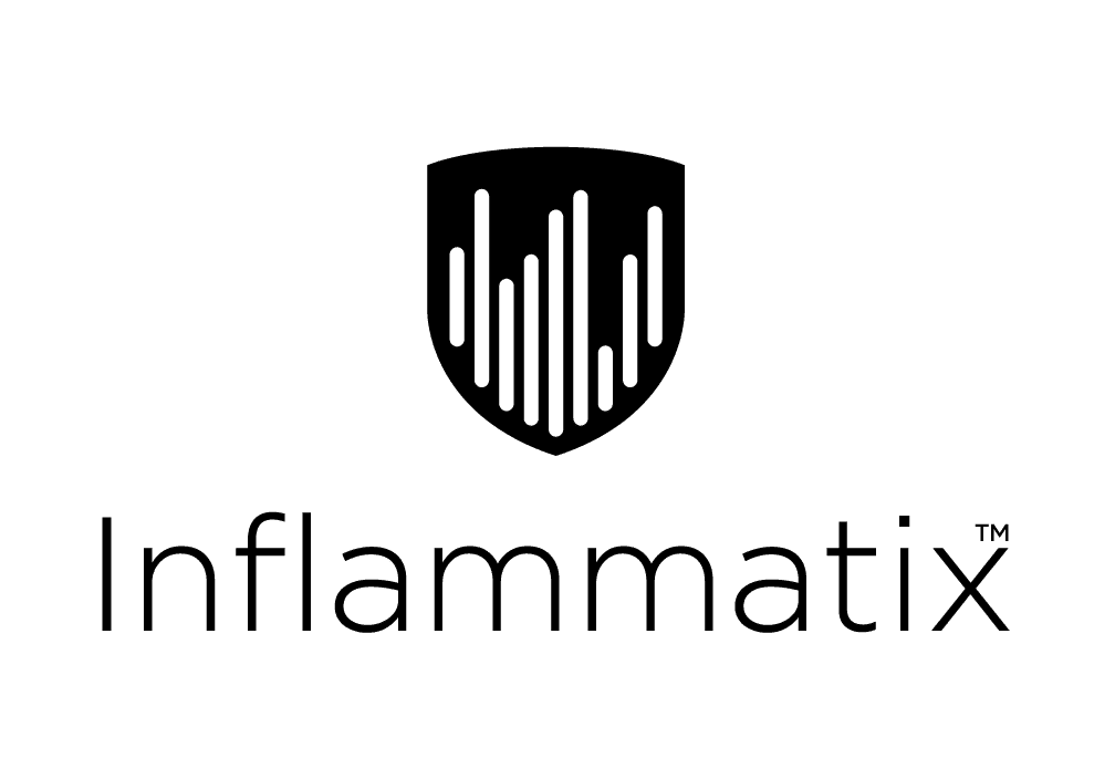Black and white Inflammatix logo shield over the word Inflammatix